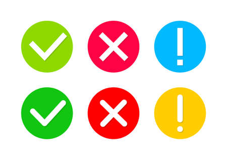 Check mark and cross. Icon of tick, warning and x. Green, red, yellow circles with signs of right, wrong and exclamation. Symbols for approved, test, poll and error marks. Set of graphic icons. Vector