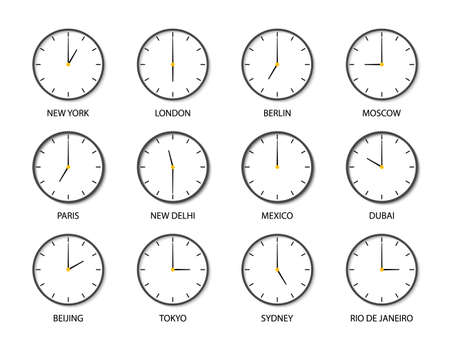 Clock with time of different world zone. Icons of clock of international timezones. Set of 12 modern clocks for travel or airport with time for New York, London, Sydney, Tokyo, Paris, Beijing. Vector. Vettoriali