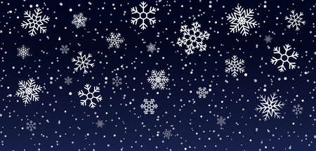 Christmas snowflakes on blue background. Snowfall on winter. White snow stars for xmas holidays. Abstract frozen pattern. Glow flakes on night. Design of illustration for happy party. Vector.