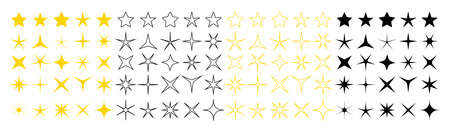 Icons of sparkle stars. Set of twinkle stars for holiday and christmas. Shiny graphic symbol for feedback or decorative. Yellow, black and silhouette shapes of magic logos. Bright stars. Vector.