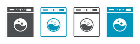 Icon of laundry machine. Logo of wash service. Symbol of washing, clean, dryer. Laundromat of clothes. Full drum and whirlpool of clothing in laundry machine. Outline sign for label, signage. Vector.