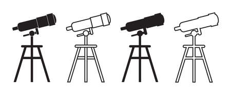 Icon of telescope for discovery. Spyglass with tripod in line style for astronomy discover. Watching of scope of space. Planetarium symbols. Silhouette of science equipment with optical lens. Vector. Vettoriali