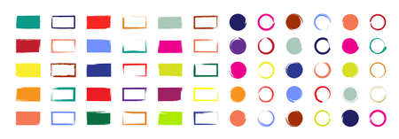 Grunge brush with colorful ink. Circle and rectangle shapes with borders. Color square paints with frames. Set of bright boxes for design. Templates of sketches for creative banners, labels. Vector.