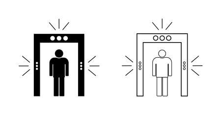 Icon of security in airport. Metal detector for check, inspection of body. Gate of scan in airport. Sign of scanner of tsa. Screening machine for checkpoint and police. Frame for person safety. Vector Vettoriali