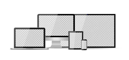 Mockup of tv, computer, phone, laptop, tablet with digital screens. Devices isolated on white background. Modern smart realistic mocks of pc. Led monitors for television and internet. Hdtv tv. Vector.