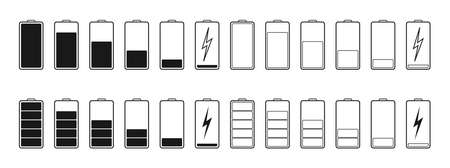 Battery icons. Full or low charge of phone. Symbol of charger. Power of mobile lithium accumulator. Recharge capacity of battery. Indicator of energy in smartphone. Empty cell of charge. Vector. Vettoriali