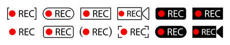 Rec icon. Button of record. Sign of recording video. Red and black symbol for start of rec audio or video on camera. Logo for livestream on computer or radio. Web player technology. Vector. Vettoriali