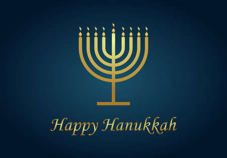 Happy hanukkah. Gold menorah of hanuka on blue background. Jewish chanukah with menora, candles and oil. Card for judaism festival or party. Banner of hannukah. Hebrew illustration with text. Vector.