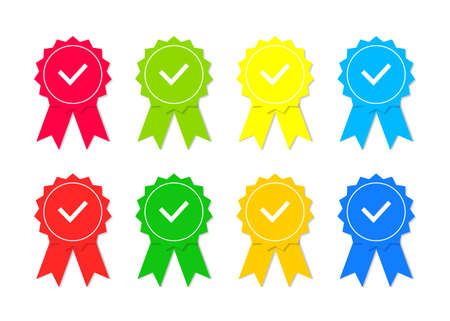 Icon of quality. Stamp with check for premium mark, best quality, guarantee. Certificate with seal of approve. Award badge with tick of good product. Symbol of satisfaction. Ribbon with medal. Vector.