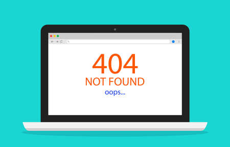 404 error. Page not found in internet. Web oops in laptop screen. Broken of network or website on computer. Trouble message in browser. Death of connection or hosting. Vector.