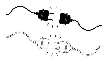 Icon of plug and socket. 404 error. Disconnect and connect of electric cable. Electricity power in cord and outlet. Graphic illustration for disconnection of equipment. Voltage in adapter. Vector. Vettoriali