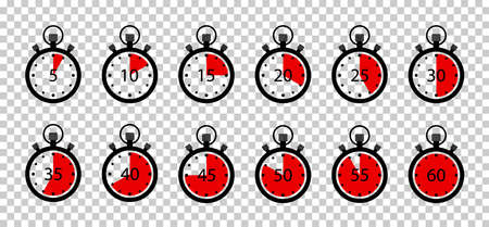 Clock timer with stopwatch. Icon of countdown for speed, cooking and sport. Watch time on round clock with minute, second. Start and stop on graphic chronometer. Counter with seconds. Vector.
