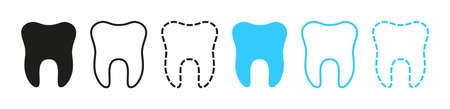 Icon of tooth. logo for dentist clinic. Graphic outline of teeth for dentistry. Symbols health of smile. Sign of toothache. Black and blue molars on white background. Icon for care of mouth. Vector.