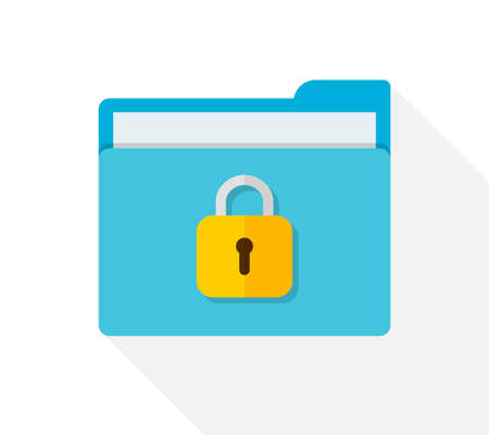File in folder with lock. Icon of confidential of document. Privacy and secure data. Protect of information with padlock, secret and password. Safety storage files in computer, archive, app. Vector.