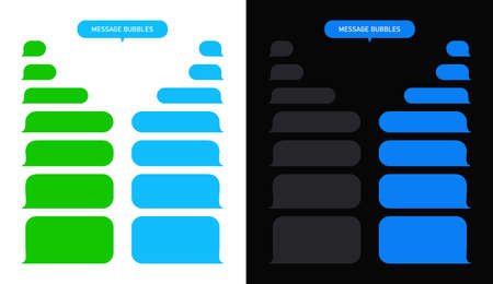 Message bubble for text chat. Box for sms and speech in phone on white and black background. Interface for conversation in messenger of mobile. Blank template for app of smartphone with ui. Vector. Vettoriali