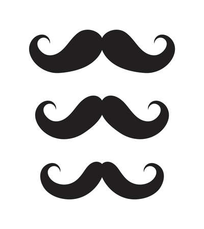 Icons of mustaches. Black cartoon mustache of Charlie Chaplin. Set of graphic symbols for hipster. Different of shapes of men mustaches for comedy or funny. Logos for fashion barber. Vector. Vettoriali