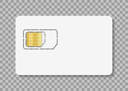 Sim card. Icon of simcard for mobile phone. Nano, micro sim with chip of identity. White mockup isolated on transparent background. Icon for cellphone. Microchip for wireless connection. Vector. Vettoriali
