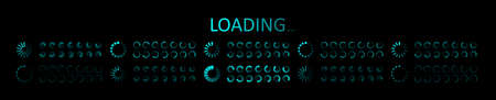 Icon of progress load on computer. Futuristic digital ui for loader. Circle of load bar for web. Round blue elements of status download. Set of neon symbols interface on black background. Vector.