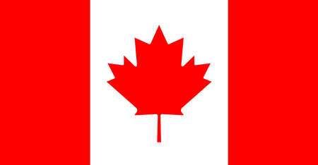 Canada flag. Canadian leaf. Red maple on white background. Official symbol of Canada. Banner for geography, national and destination. Simple drawing and icon for country in north america. Vector.