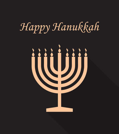 Happy hanukkah. Menorah of chanukah. Hanuka greeting card. Jewish hanukah with shalom. Menora with candles on black background. Design banner of judaism. Hebrew festival or party. Vector.