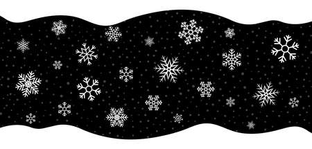 Snow on black background. Christmas snowflakes on black background with border. White flakes with frame. Pattern for holiday. Winter texture for design decoration. Wallpaper with snowfall. Vector.
