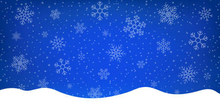 Blue winter background with snowflakes. Abstract blue illustration with borders, white snow for christmas holiday. Xmas card with snowfall, light on magic backdrop. Design of greeting banner. Vector.