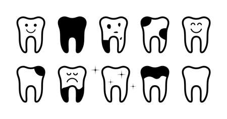 Icon of health tooth and tooth with pain. Clean, broken and caries teeth. Shiny or bad teeth. Black icons in line style. Illustration for dental, care of cavity and treatment of teeth. Vector. Vettoriali