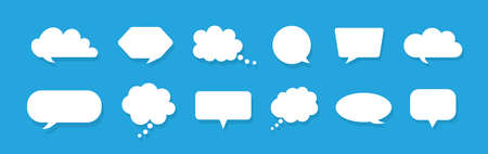 Speech bubbles. Chat for thought and talk. White clouds for comment on blue background. Balloons for speak, dialog and text. Cartoon icons for message and announcement in flat style. Vector.