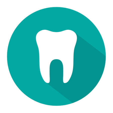 Icon of tooth. Dentist symbol. Logo of teeth. Graphic shape for dental. Illustration for healthy smile or medicine. Protection of health oral and tooth from caries. Sign of dentistry. Vector.