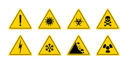 Sign of danger. Triangle sign for caution. Icon of toxic, skull, poison, biohazard, virus, electric voltage and radiation. Logo for safety. Signal of warn on yellow background. Symbol of risk. Vector.