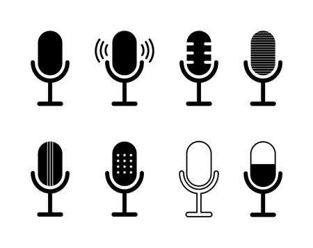 Icon of microphone. Podcast symbol. Icon for speak, radio and audio record. Mic of studio. Logo of voice, interview and sound. Simple silhouette of wireless mike for karaoke, vocal, media. Vector.