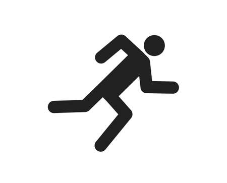 Icon of runner. Run of man on track. silhouette of human on marathon. Fast run in sport and sprint. Symbol of jogging. Black logo of sprinter on white background. Sign for active exercise. Vector.