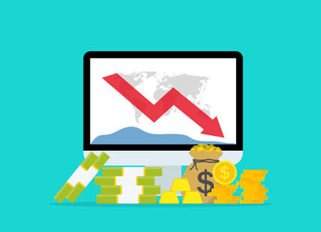 Down of money budget on data graph. Chart of loss of money on computer screen. Low of cost dollar on stock market. Financial crisis or bankruptcy of economy. Icon of fall investment. Vector.