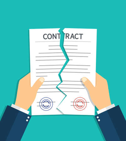 Contract breach and break. Terminate of contract. Rip of paper document. Cancel and torn of agreement for law. Termination deal in business. Failure in partnership. Icon of disagree in work. Vector.