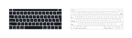 Keyboard of computer, laptop. Modern key buttons for pc. Black, white keyboard isolated on white background. Icons of control, enter, qwerty, alphabet, numbers, shift, escape. Realistic mockup. Vector Vector Illustration