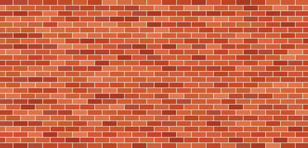 Brick wall. Brick background. Red and brown texture. Old brickwork. Pattern of building with stone and concrete. Vintage tile for house. Masonry and cement for new construction of exterior. Vector.