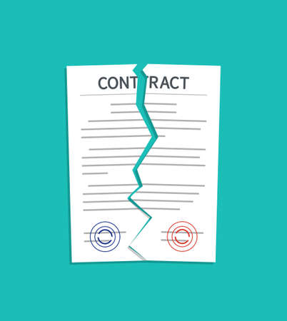 Contract break. Breach and terminate of contract. Torn of paper document. Cancel and rip of agreement for law. Termination deal in business. Failure in partnership. Icon of disagree in work. Vector.