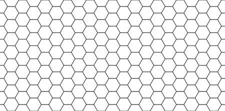 Hexagon seamless pattern. Honeycomb background. Texture with hexagon of honey comb. Black grid of bee. Abstract geometric background. Hex tile of mosaic. Line ornament for hive. Vector.