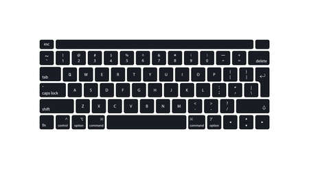 Keyboard of computer, laptop. Modern key buttons for pc. Black keyboard isolated on white background. Icons of control, enter, qwerty, alphabet, numbers, shift, escape. Realistic mockup. Vector.
