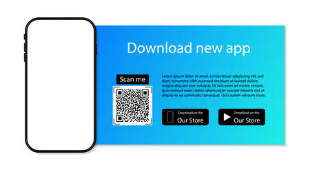 Download app to phone from store. Qr code for download of application. Advertising of smartphone app. Scan code, click button, upload and payment. Mockup of mobile on website. Elegant banner. Vector.