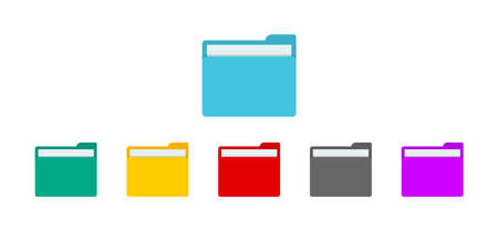 Folder with file for desktop of computer. Icon of document or data in folder. Open or closed doc. Colorful folders for archive, portfolio and organize of job. Template for web, ui and button. Vector.