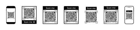 QR code for scan with mobile. Icons of barcode for phone scanner. Digital bar of logo with scan to me. Black qrcode for pay on white background. Coupon for discount. Symbol of marketing. Vector. Vettoriali