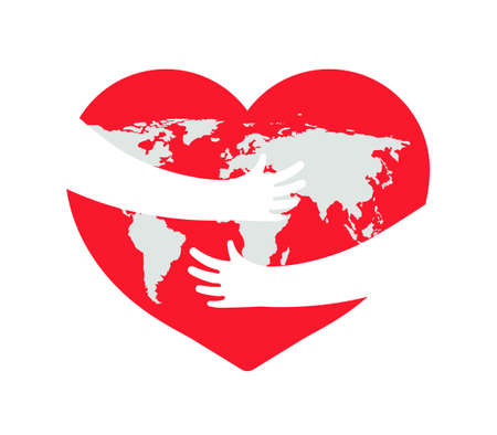 Earth in heart. Save planet. Hand with love and care hug of world. Embrace of earth. Day of globe. Icon for environment and ecology. Protect of environmental. Concept of recycle and life. Vector. Vettoriali