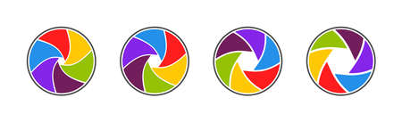 Aperture, camera and shutter icons. Logo of lens for photography. Color circles for photo. Modern rainbow wheels for studio. Spectrum colors of camera. Design icons. Digital concept. Vector. Vettoriali