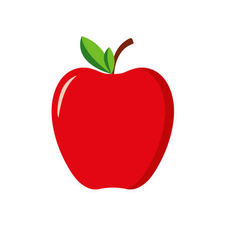 Red apple with green leaf. Icon of fruit apple. Cartoon logo isolated on white background. Symbol of healthy nutrition. Icon for teacher, school, education. Stylized silhouette for food, juice. Vector Vettoriali