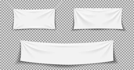Fabric banner. White textile banner. Hanging, stretch cloth flag. Fabric canvas with rope. Blank horizontal mockup of poster. Realistic rectangle texture for advertising. Hang flag with fold. Vector.