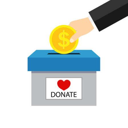 Money box for charity donate. Hand giving coin for charity help. Campaign of fundraising for donate. Icon of fund of donation. Financial contribution from heart with love for charitable. Vector. Vettoriali
