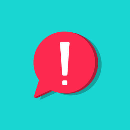 Exclamation mark in bubble. Icon of attention and alert. Exclamation point for warning of important. Red circle on blue background for speech. Symbol of caution, danger and risk. Logo for info. Vector Vettoriali