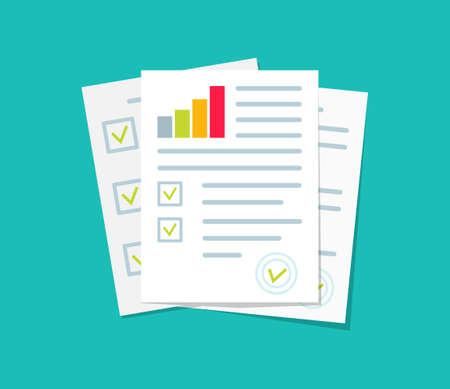 Audit, financial report and research. Document of analyze with chart of result. Icon for data, auditor and verification. Audit paper for accountant. Sheet of tax, risk and control. Vector. Vettoriali