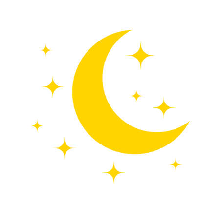 Moon and star. Yellow icon of moon for night. Pictogram of crescent and star. Logo for sleep and baby. Celestial symbol isolated on white background. Illustration for goodnight and ramadan. Vector. Vettoriali